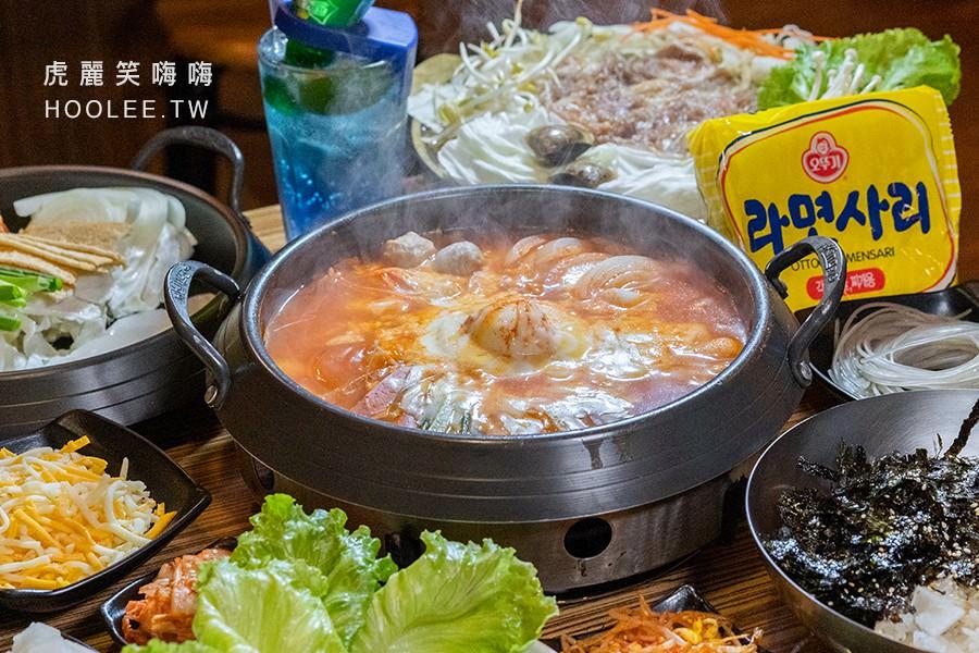銅一鍋 高雄韓式料理 拉絲起司年糕鍋 190元 附小菜 +沙里麵 40元