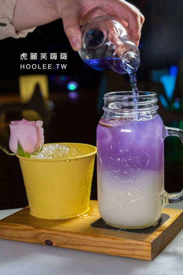 海洋微光 Ocean Light 高雄景觀餐廳 楠梓美食 你是我的菜 280元 蝶豆花茶、可爾必思、鮮萊姆汁