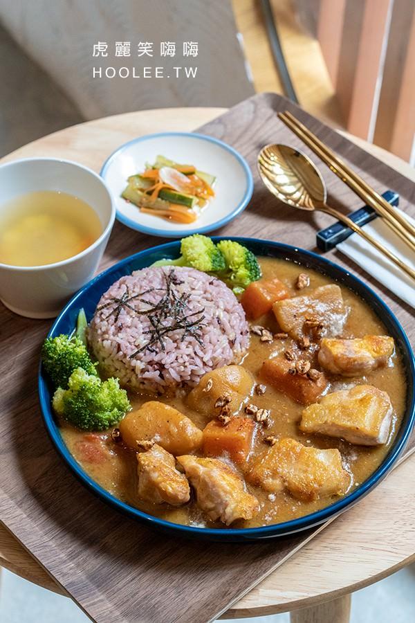 稻稻來 茶空間 瑜珈 高雄茶店 香煎去骨雞腿咖哩飯 280元 附糙米飯、青菜、湯、甜點