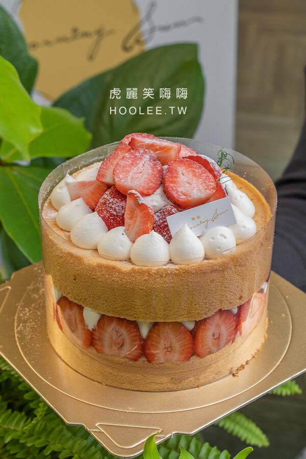 晴晨 Morning Sun 高雄甜點推薦 草莓蛋糕 下午茶 裸蛋糕 6吋 820元 香草蛋糕、香緹卡士達、新鮮草莓