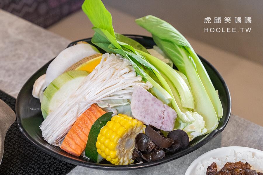 哈肉鍋 鳳山火鍋推薦 個人火鍋 低溫熟成豬肉鍋(6oz) 268元 配菜盤:精選季節時蔬盤